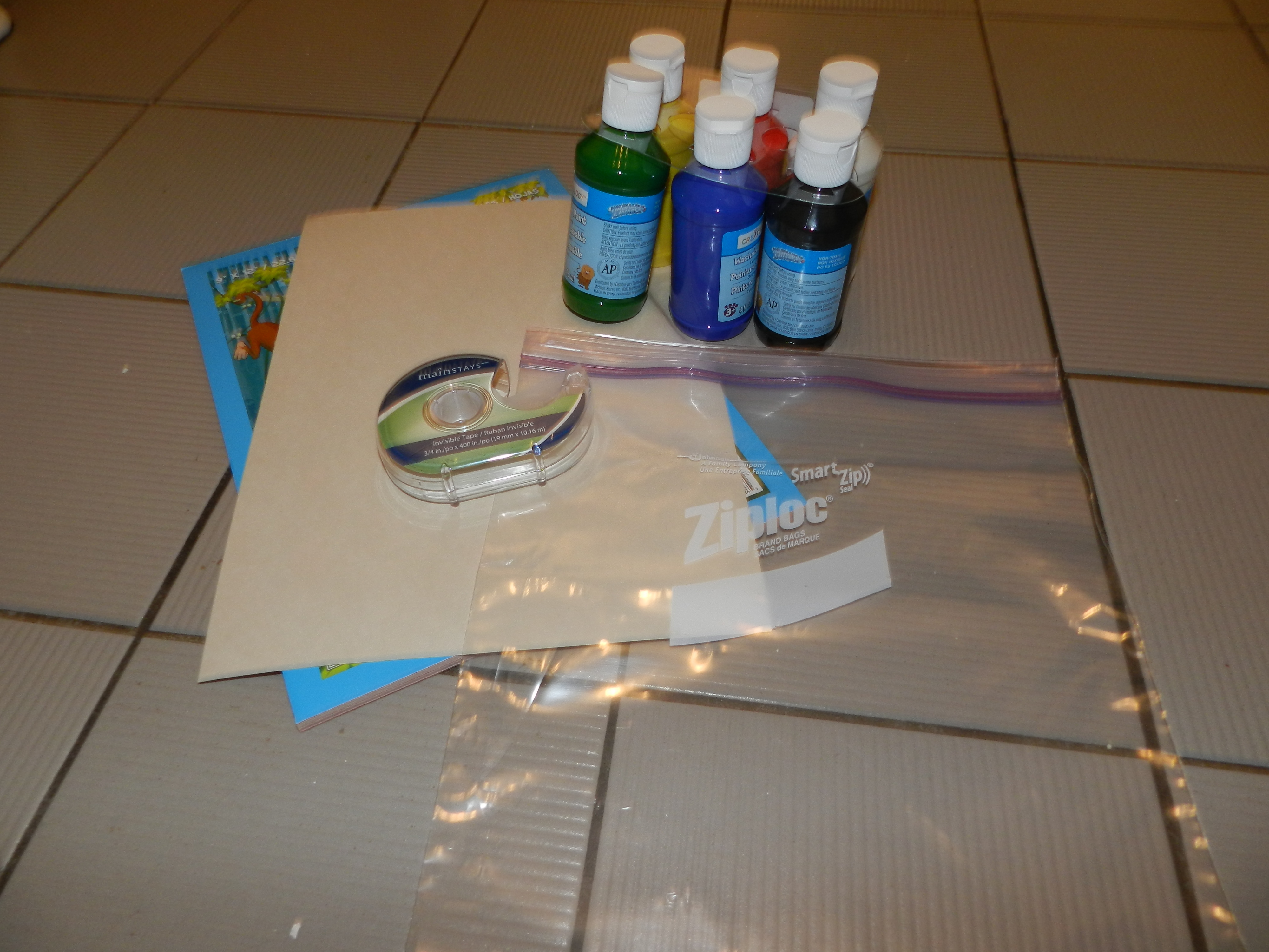 Materials Needed: Large ziploc bag, construction paper, at least two colours of paint, tape and something like newspaper to put the paper on afterwards