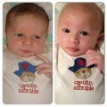 Same outfit. Different kid. Two years apart. Princess Peach on the left, Little Dude on the right.