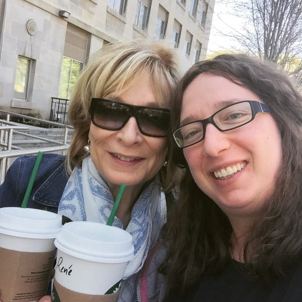 My mom and I enjoying a coffee together