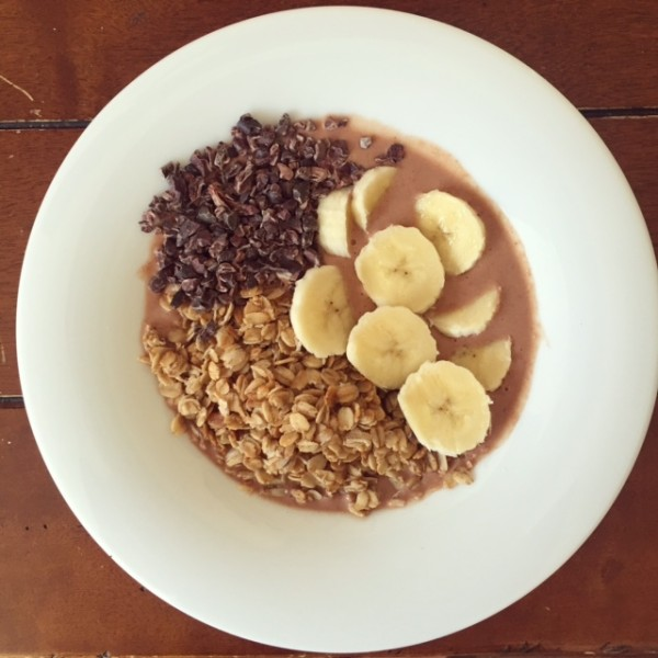 My favourite breakfast- a chocolate peanut butter and banana smoothie bowl